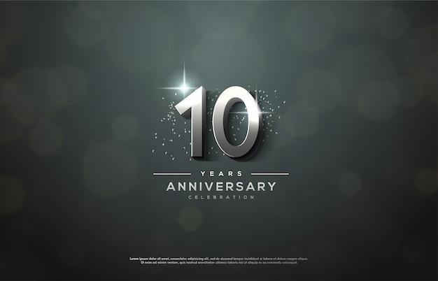 Obchody rocznicy ze srebrnymi cyframi.