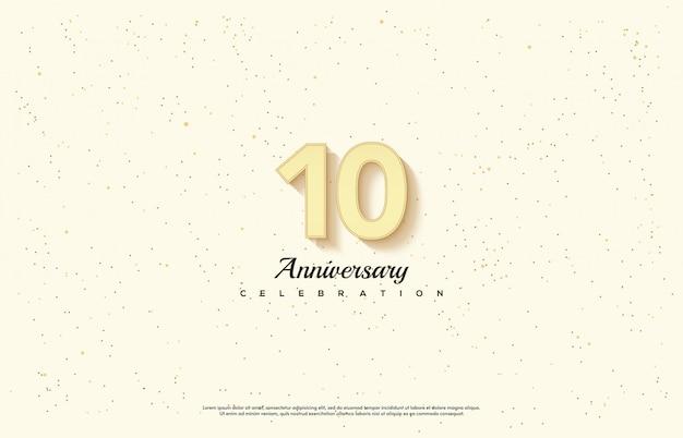 Obchody rocznicy ze świetlistym złotym numerem.
