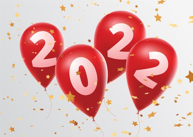 Obchody szczęśliwego nowego roku 2022 jasne czerwone balony rysunek balony noworoczne z brokatowymi gwiazdami