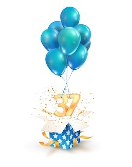 Obchody trzydziestu siedmiu lat. pozdrowienia z trzydziestej siódmej rocznicy na białym tle elementów projektu. otwórz teksturowane pudełko z numerami i latającymi balonami