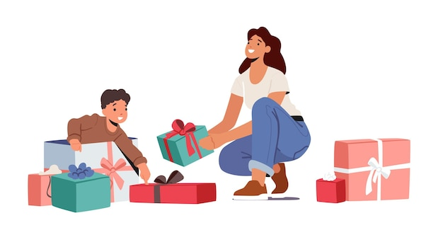 Obchody urodzin dziecka. matka przygotowała prezent niespodziankę dla małego synka. maluch chłopiec otwarcie prezenty w pokoju z mamą i owinięte pudełka na białym tle. ilustracja kreskówka wektor