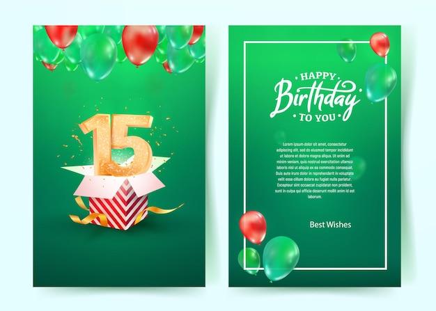 Obchody Urodzin Piętnastego Roku życia Premium Wektorów