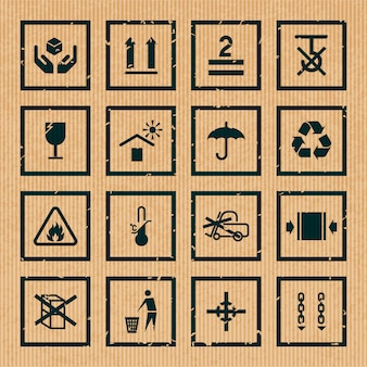 Obchodzenie się i pakowanie symboli czarne kartonowe ikony zestaw izolowanych ilustracji wektorowych