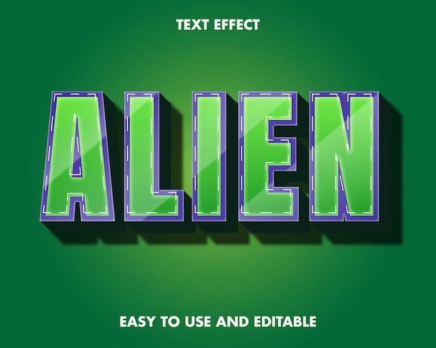 Obcy efekt tekstowy. edytowalny efekt czcionki.