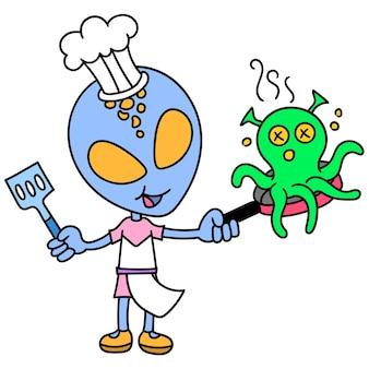 Obcy stają się szefem kuchni, gotując kałamarnicę ośmiornicową, rysując doodle kawaii. ilustracja