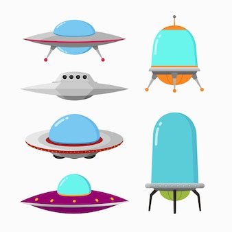 Obcy statek kosmiczny i ufo w stylu kreskówki