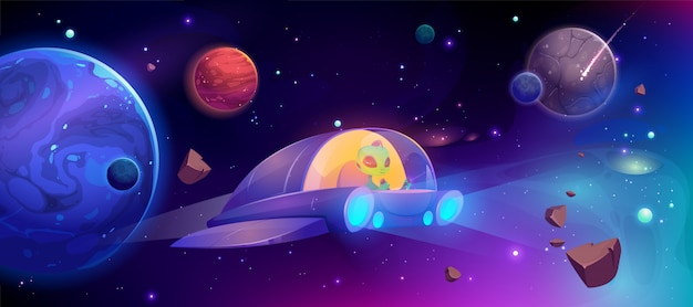 Obcy statek kosmiczny lecący w kosmosie między planetami
