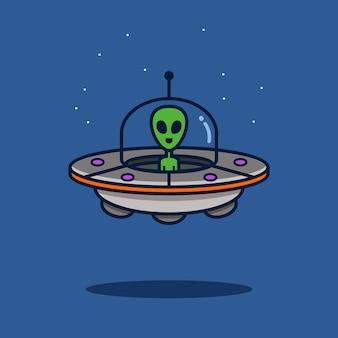 Obcy ufo kreskówka wektor ilustracja koncepcja ikona przestrzeni ładny obcy ufo płaski styl kreskówki