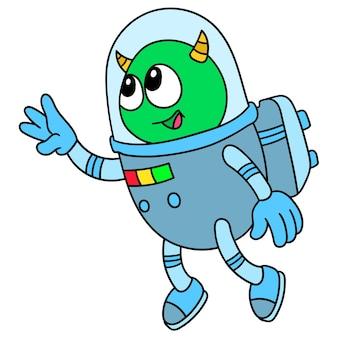Obcy w stroju astronauty wyruszają w kosmiczną podróż, doodle rysują kawaii. ilustracja