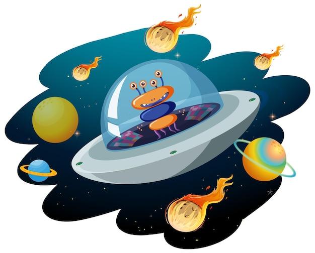 Obcy w ufo z wieloma planetami i asteroidami