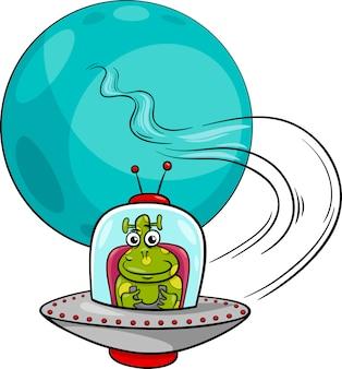 Obcych w ilustracji kreskówka ufo