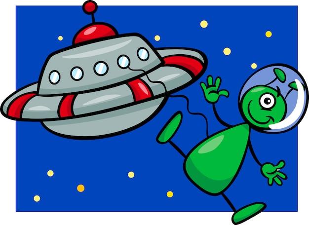 Obcych z ilustracji kreskówka ufo