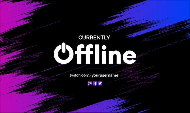 Obecnie offline tło banera twitch z abstrakcyjnym pluskiem