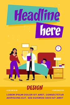Obecny lekarz rozmawia z zmartwioną matką. dziecko, łóżko, grypa płaska wektorowa ilustracja