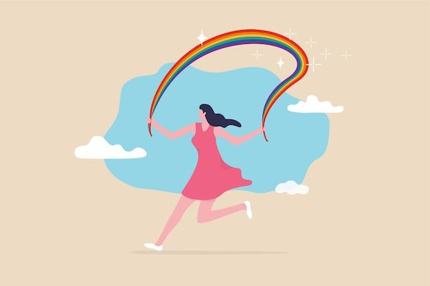Obejmij tęczową dumę lgbt, równość i wolność płci, koncepcję lesbijek, gejów, osób biseksualnych i transpłciowych, szczęśliwą piękną kobietę transpłciową biegnącą z tęczową dumą.