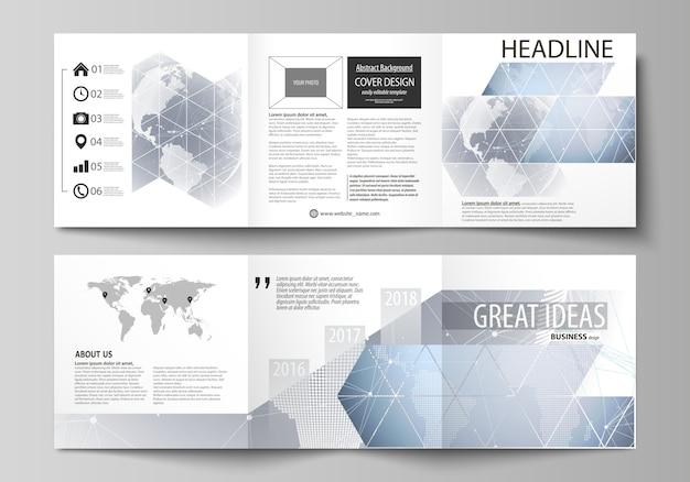 Obejmuje szablony projektowe dla kwadratowej broszury lub ulotki