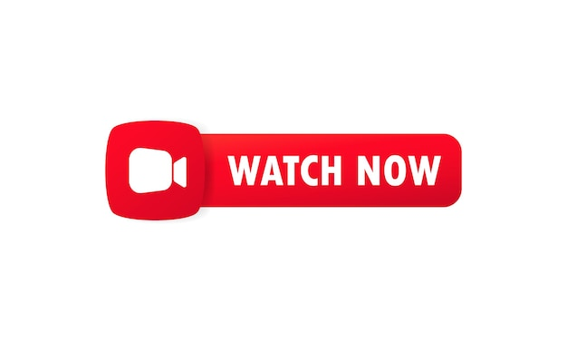 Obejrzyj teraz przycisk. przycisk do strony internetowej, interfejsu użytkownika, odtwarzacza multimedialnego, banera i szablonu aplikacji. wektor na na białym tle. eps 10.