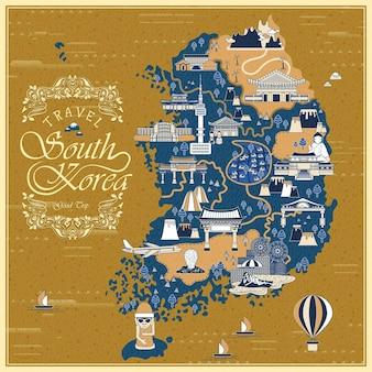 Obfita mapa podróży korei południowej na niebieskim tle