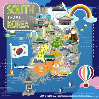 Obfita mapa podróży korei południowej w płaskiej konstrukcji