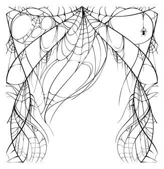 Obfita rozdarta sieć i pająk na białym tle szablon karty z pozdrowieniami halloween
