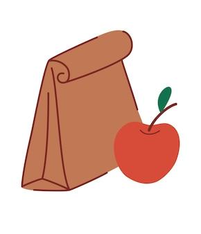 Obiad do szkoły. papierowa torba z jedzeniem i jabłkiem. pudełko na lunch dla dzieci. weź to ze sobą.