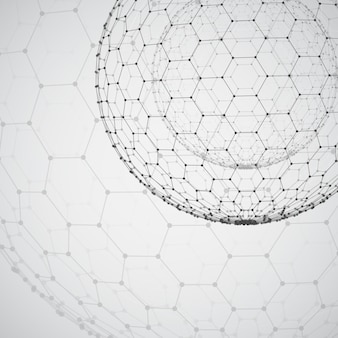 Obiekt 3d z siatki sześciokątnej z kropkami. stylowy design