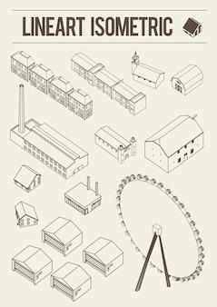 Obiekt izometryczny linii sztuki budowlanej