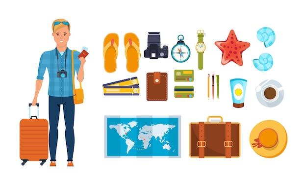 Obiekt letnich podróży i niezbędny w zestawie wycieczkowym. mężczyzna podróżnik z walizką turystyczną mapą, aparatem, słomkowym kapeluszem, kompasem, kartą płatniczą banku, biletem, paszportem, kremem przeciwsłonecznym płaski wektor