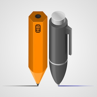 Obiekt sztuki pióro i ołówek. ilustracja wektorowa