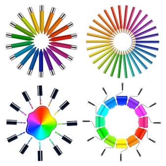 Obiekty artystyczne w schemacie kolorów