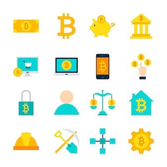 Obiekty bitcoin kryptowaluty. zestaw pozycji finansowych na białym tle nad białym.