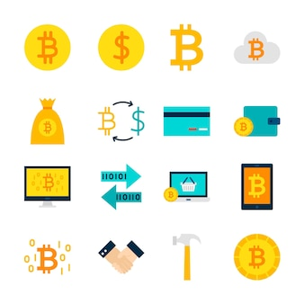 Obiekty bitcoin walut. zestaw pozycji finansowych na białym tle nad białym.