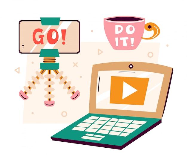 Obiekty clipart blogger. smartfon ze statywem, lap top, filiżanka kawy z moto zrób to! robienie wideo w studio. produkcja treści medialnych. płaskie ilustracja, zestaw na białym tle