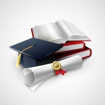 Obiekty do ceremonii ukończenia szkoły. ilustracja
