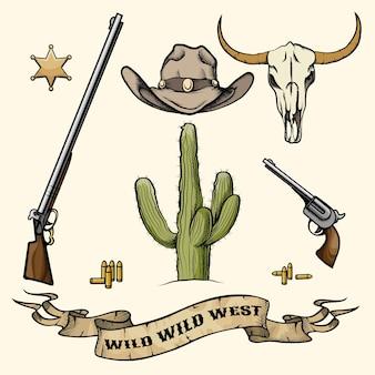 Obiekty dzikiego zachodu. kowbojski kapelusz, broń i amunicja, kaktus i czaszka bawołu, odznaka szeryfa. ilustracji wektorowych