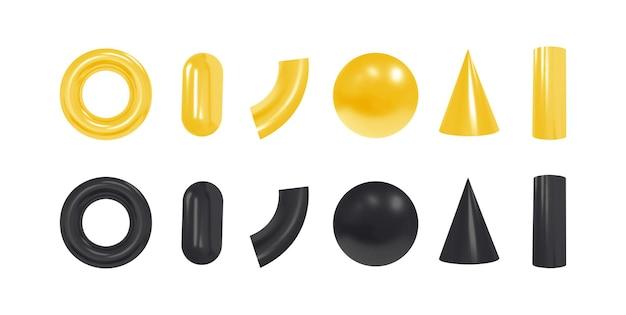 Obiekty geometryczne 3d. na białym tle czarne i żółte kształty. .
