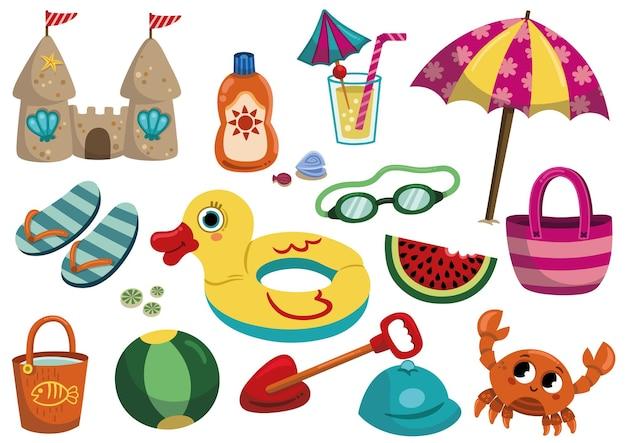 Obiekty kreskówka lato na białym tle ilustracja wektorowa zestawu obiektów na plaży