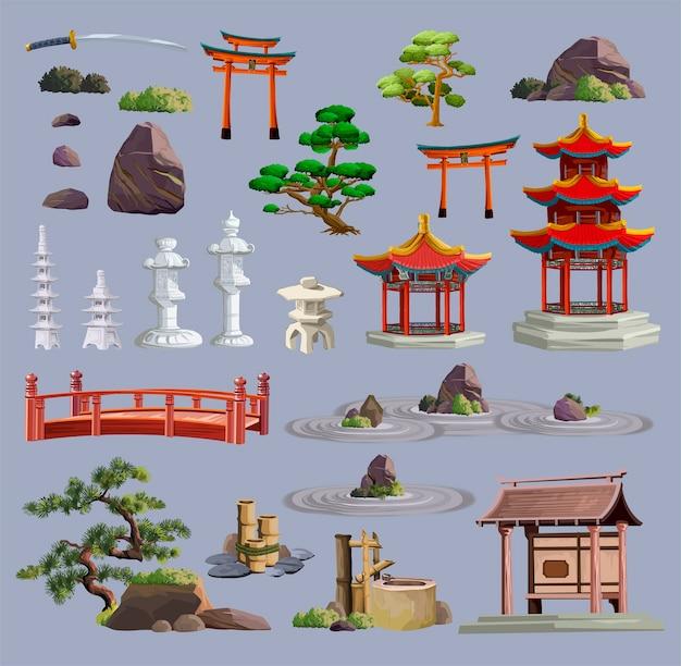 Obiekty kultury starożytnej japonii duży zestaw z pagodą, świątynią, ikebaną, bonsai, drzewami, kamieniem, ogrodem, japońską latarnią, konewką na białym tle. japonia zestaw kolekcji