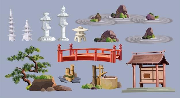 Obiekty kultury starożytnej japonii ustawione z pagodą, świątynią, ikebaną, bonsai, drzewami, kamieniem, ogrodem, japońską latarnią, konewką na białym tle kolekcja zestawu japonii