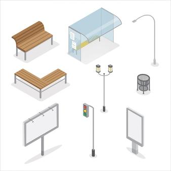 Obiekty miejskie. sygnalizacja świetlna. ławka miejska. przystanek autobusowy. światła. billboard reklamowy. kosz na śmieci. światła miasta.