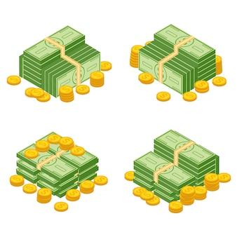 Obiekty na białym tle na białym tle. różne rachunki pieniężne banknotów dolarowych gotówki papierowej i zestaw złotych monet. kupa gotówki pieniądze, stos i stos ilustracji pieniądze.
