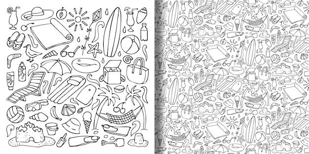Obiekty plażowe ręcznie rysowane doodle zestaw i wzór bez szwu kolekcja wektorów do nadruków na tekstyliach