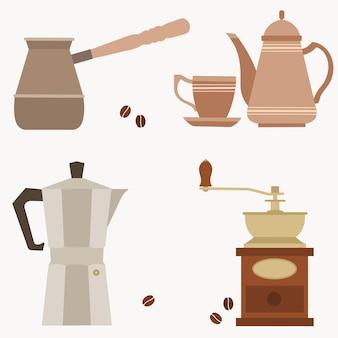 Obiekty ustawione z napisem dzbanek do kawy filiżanka kawy młynek do kawy i ekspres do kawy