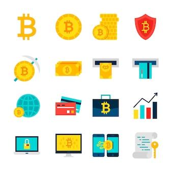 Obiekty waluty bitcoin. zestaw pozycji finansowych na białym tle nad białym.