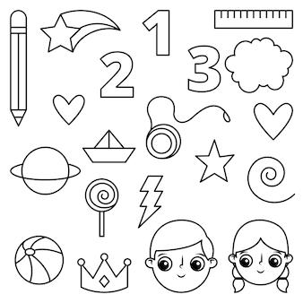 Obiekty z kreskówek dla dzieci do kolorowania książki. linie ikon. ilustracja wektorowa