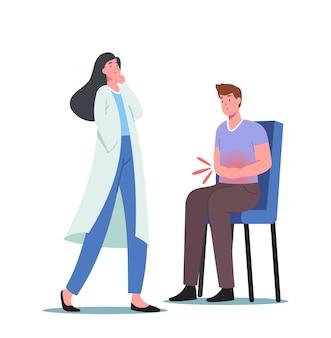 Objawy choroby trzustki, ból brzucha, gastroenterologia. lekarz sprawdź chory mężczyzna pacjenta dotykając brzucha
