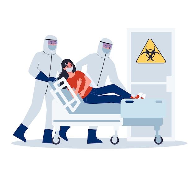 Objawy i leczenie. alert koronowirusa. lekarz w specjalistycznym sprzęcie hospitalizuje zakażoną kobietę.