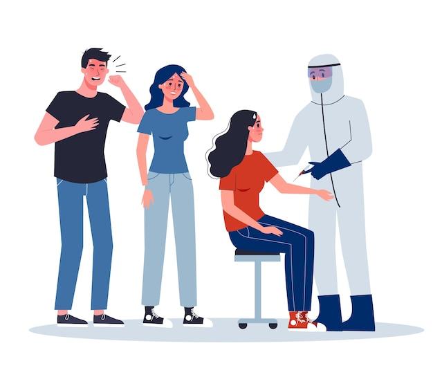 Objawy i leczenie. alert koronowirusa. lekarz w specjalnym sprzęcie wykonujący zastrzyk szczepionki zakażonej kobiecie.
