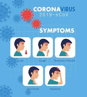 Objawy koronawirusa 2019 ncov z ikonami