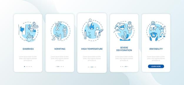 Objawy rotawirusa na ekranie strony aplikacji mobilnej z koncepcjami. biegunka, wymioty i wysoka temperatura instrukcja obsługi 5 kroków graficznych. szablon wektorowy interfejsu użytkownika z kolorowymi ilustracjami rgb